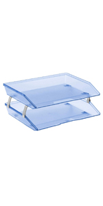 acrimet facility letter tray 2 tier side load clear blue color