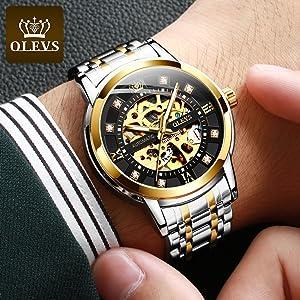 automatic mechanical watch skeleton luxury timepiece men
