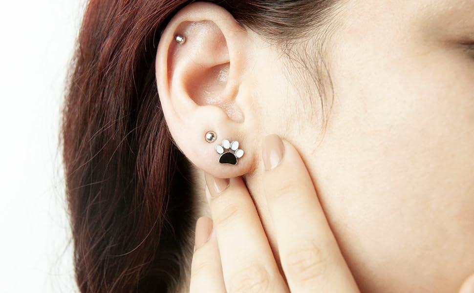 Homemade Handmade Unique Hook Earrings Pierced  Best Friend paw Silver Coloured