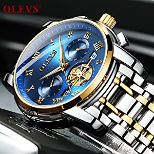 chronograph watch olevs solid full stainless steel luxury
