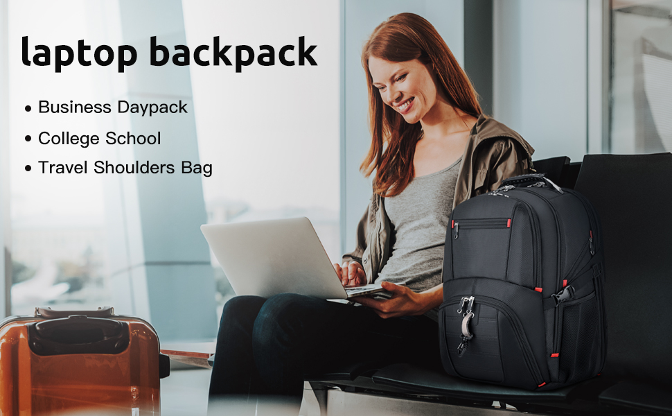Large College School Backpack with USB Charging Port, 17.3 Inch Computer Bacakpack Water-Repellent