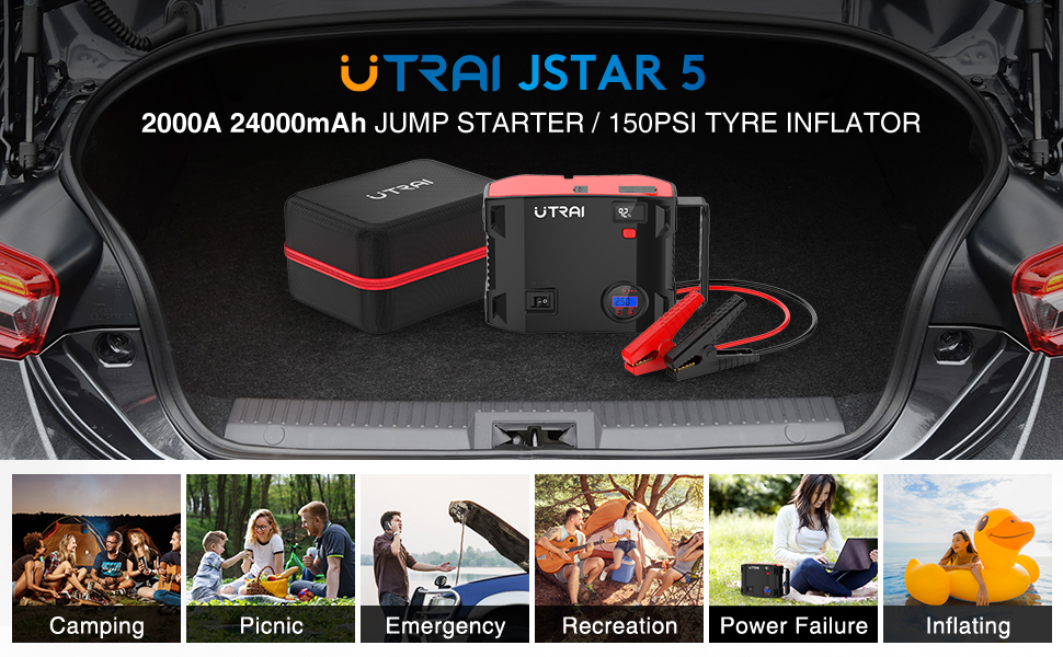 UTRAI 2000A 24000mAh Jump Starter with 150PSI Tyre Inflator for Car