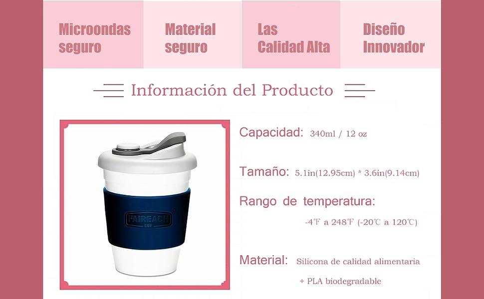 Taza de Café para llevar con Tapa, Mug Café Reutilizable con Manga ...