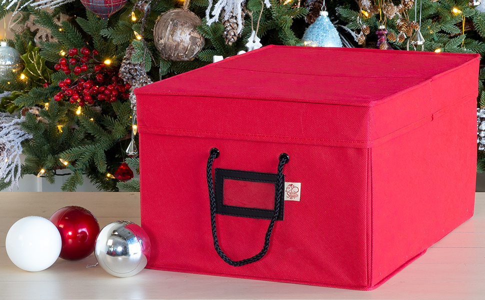 64 Christmas Ornament Container Storage Chest Holiday Decor Keeper Organizer Box