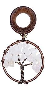 Handmade Rose Quartz Tree of Life Wood Dangle Ear Gauges Piercing Flesh Tunnels Plugs Stretching Kit