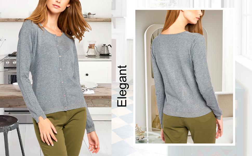BENANCY Women's Button Down Scoop Neck Long Sleeve Soft Knit Cardigan Sweater