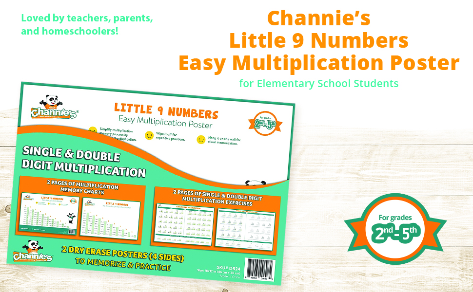 Little 9 Numbers Easy Multiplication Poster