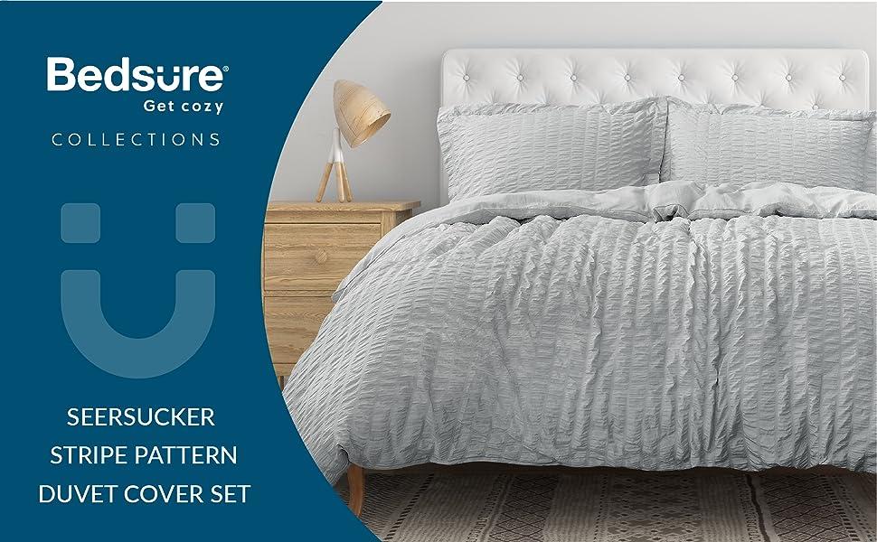 get cozy with the Bedsure Duvet Cover Set - Seersucker Stripe