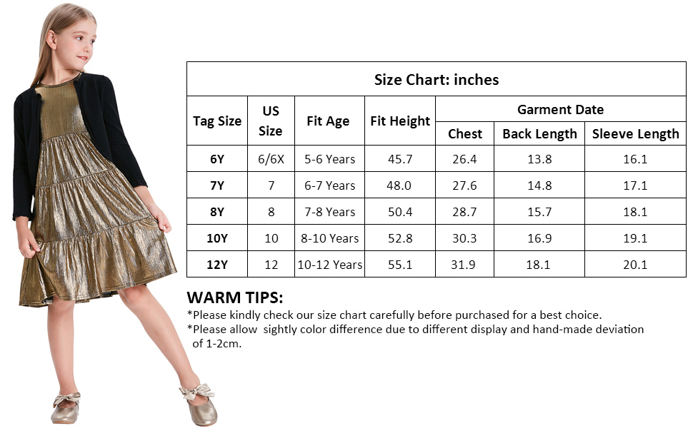 GRACE KARIN Girls Knit Long Sleeve Open Front Bolero Shrugs for 6-12Years