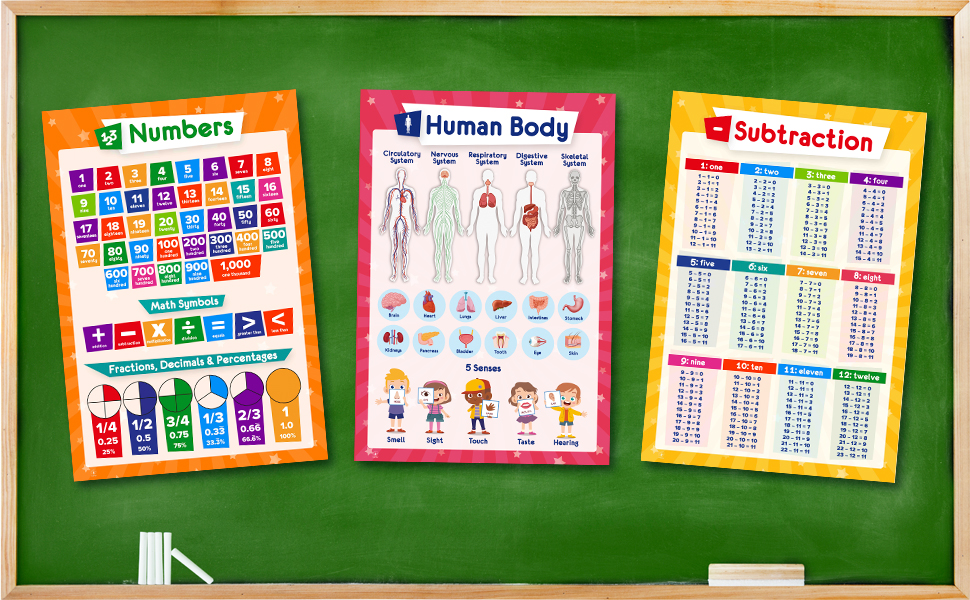 numbers poster, human body, subtraction, educational posters, charts, school, classroom, homeschool