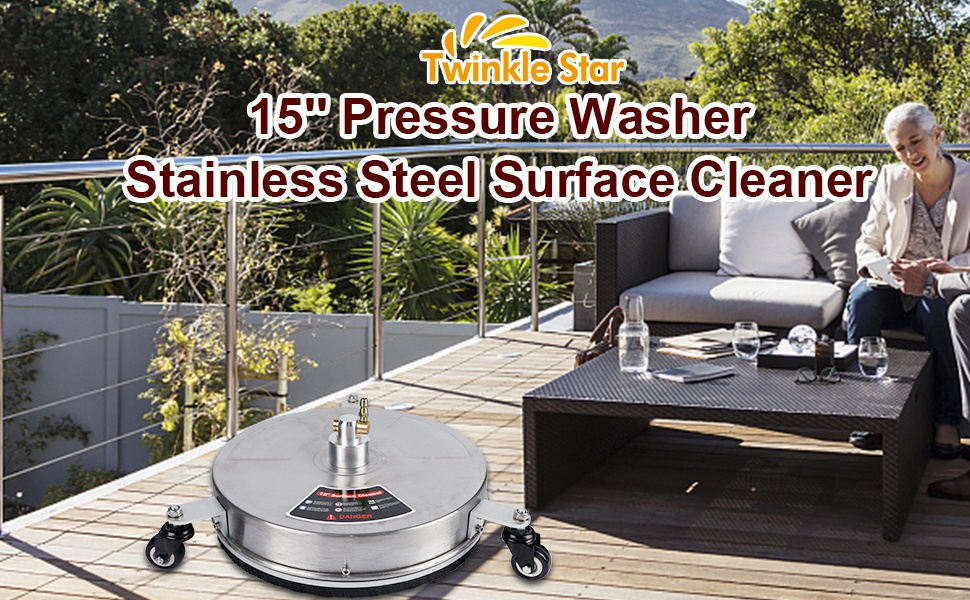 Twinkle Star 15'' Pressure Washer Surface Cleaner with 3 Wheels