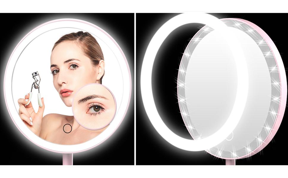 Specchio da Trucco con Luce Interruttore di Schermo LED retroilluminato Lixada Base Rimovibile e Cavo USB Luce Bianca Naturale