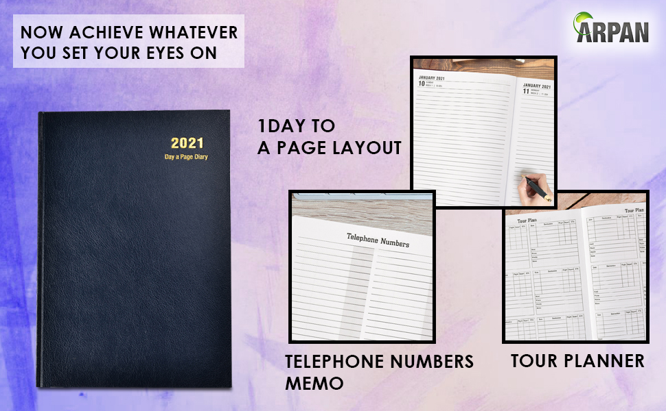 A5 Hardback Diary Week to View personal notes pages, year planner, international holidays,