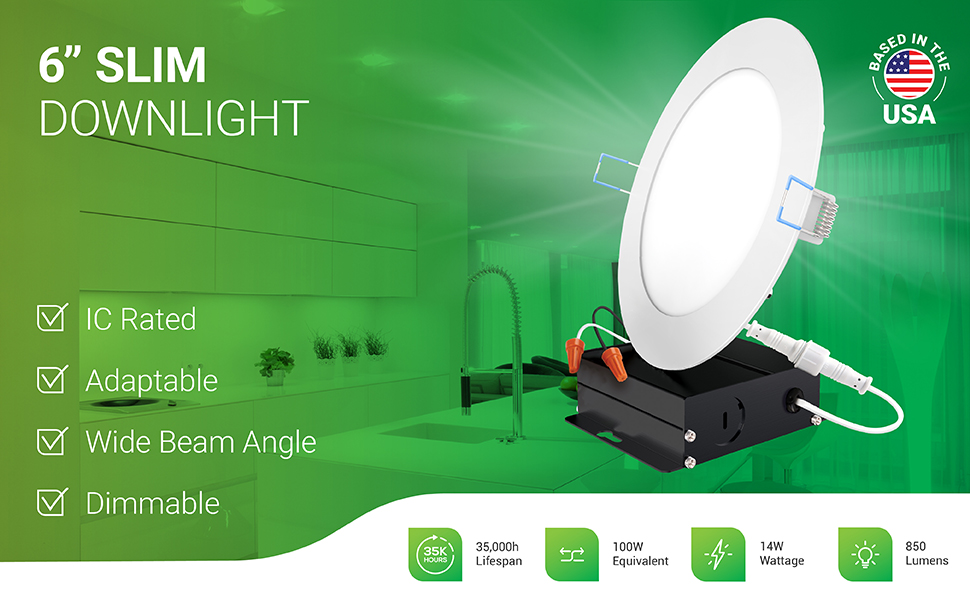 6 Inch Slim LED Downlight, Dimmable, Recessed Jbox Fixture, IC Rated, Simple Retrofit Installation