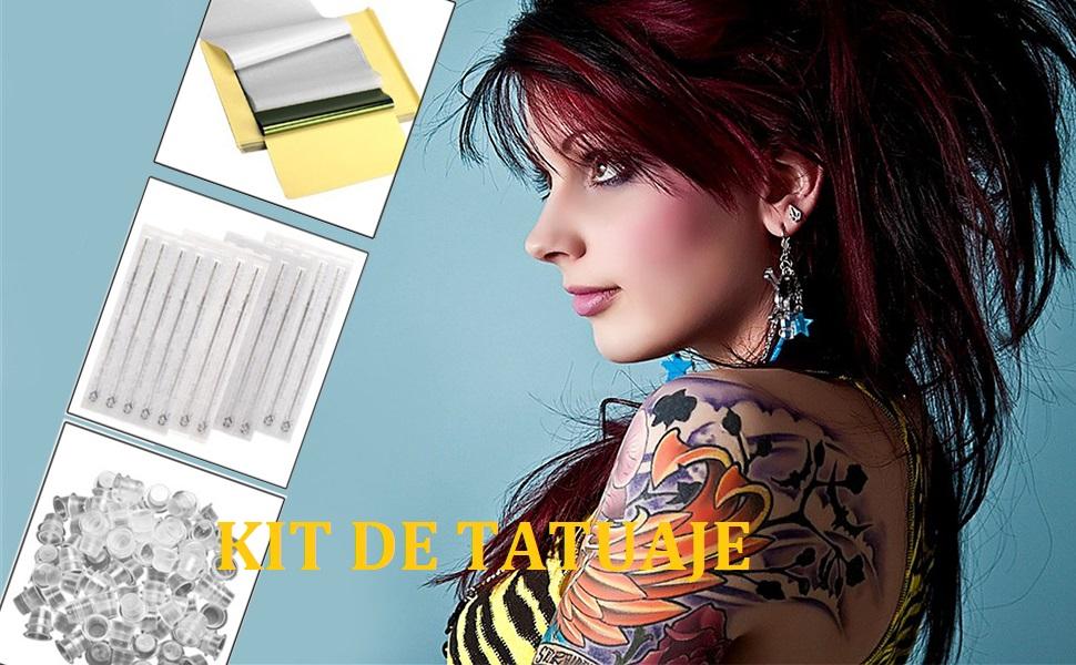 Anself 50Pcs Papel de Transferencia de Tatuaje + Forro redondo de ...