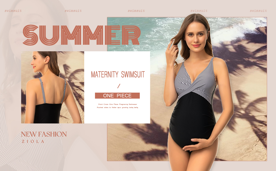 Maternity Swimsuit One Piece Front Cross Swimsuit