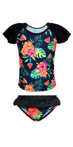 2pcs Flutter sleeve swimsuits ruffle skirt