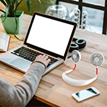 office  Hand Free Mini USB Personal Fan – Rechargeable Portable Headphone Design Wearable Neckband Fan,3 Level Air Flow,7 LED Lights,360 Degree Free Rotation Perfect for Sports, Office and Outdoor (white) 08b8f236 0eb0 483a b9a1 2f75b041a40f