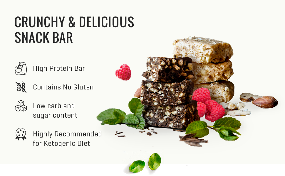 Keto Krisp Protein Snack Bars - Low Carb, Low Sugar, Gluten Free - Crispy, Perfectly Delicious,