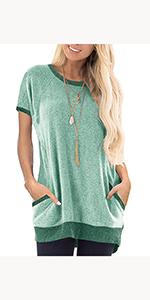 Womens Cozy Color Block Short Sleeve Casual Crewneck T-Shirt Pockets Tunic Pullover Sweatshirt Tops