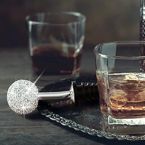 TitaCare 3pcs Luxury Crystal 2 en 1 Wine Pourer and Stopper, decoración para regalos, bar, fiesta, boda, con un cepillo