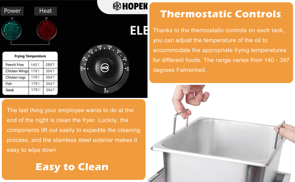 Thermostatic Controls and easy to clean commercial deep fryer