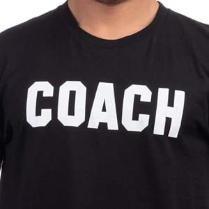 coach printed in collegiate block letters across the chest of a men's cotton t-shirt, various colors