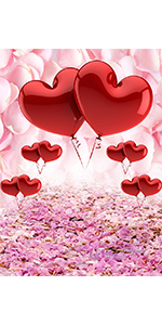 Floral Red Heart Balloon Photo Background 5x7ft  Photography Backdrop Bridal