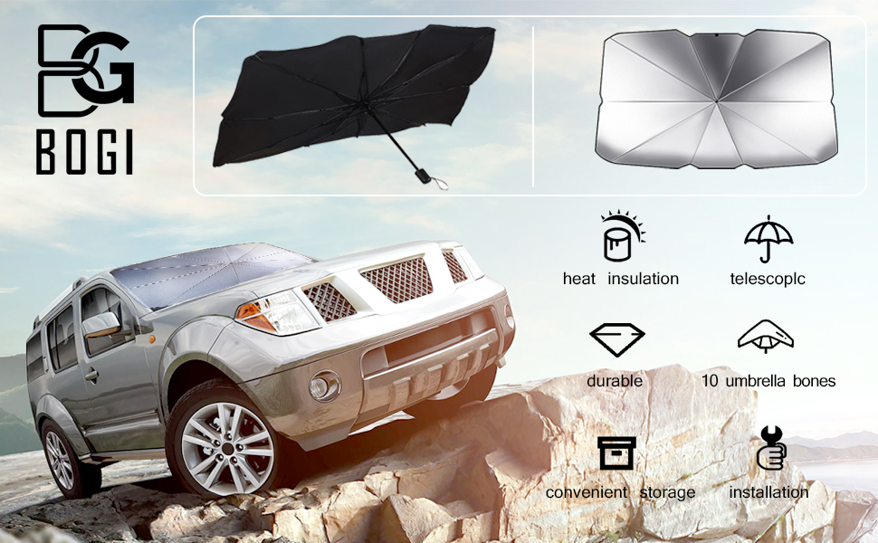 Small,Large BOGI Car Windshield Sun Shade Umbrella,Foldable Car Window Sunshade with Storage Bag,Block UV Rays and Heat Sun Visor Protector,Fits Most Vehicle Models Easy to Store and Use