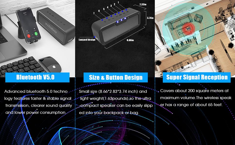 XDOBO 40W Altavoz Bluetooth Portátil 5.0 con Impermeable IPX7 15 Horas de Reproducción TWS Altavoces inalámbricos de doble controlador para ...