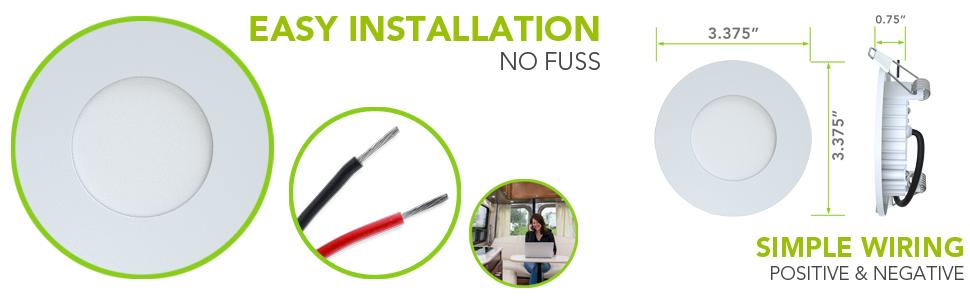 "Easy Installation No Fuss Leisure LED 5th Wheel Interior Ceiling Overhead Recess Mount Light 3.75"""