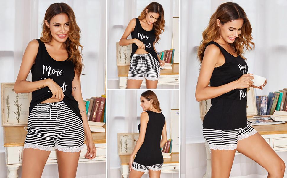 Ensembles de pyjama pour femmes UNibelle Shorts débardeur sans manches et shorts pyjamas doux pour femmes