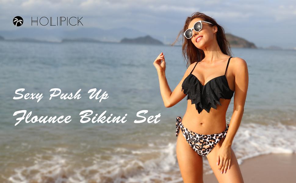 Holipick Push Up Swimsuit Bikini Tops Ruffled Flounce Padded Bra Tie Back Bathing Suit Swim Tops with Underwire