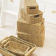 wicker storage bins