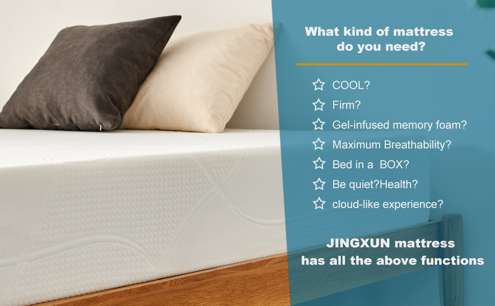"queen size mattress in a box gel cool memory foam mattress queen bed mattress bed box 7"" inches"