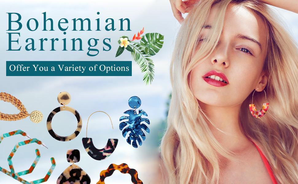 Bohemian Statement Earrings for Women Girls Acrylic Resin Hoop Fashion Summer Jewelry