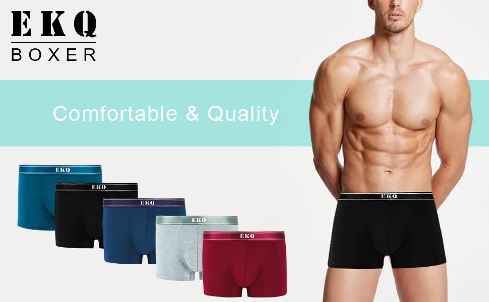 EKQ Mens Boxers Multipack Bamboo Rayon Underwear Men Boxer Shorts Trunks Underpants for Men Soft 4 Pack