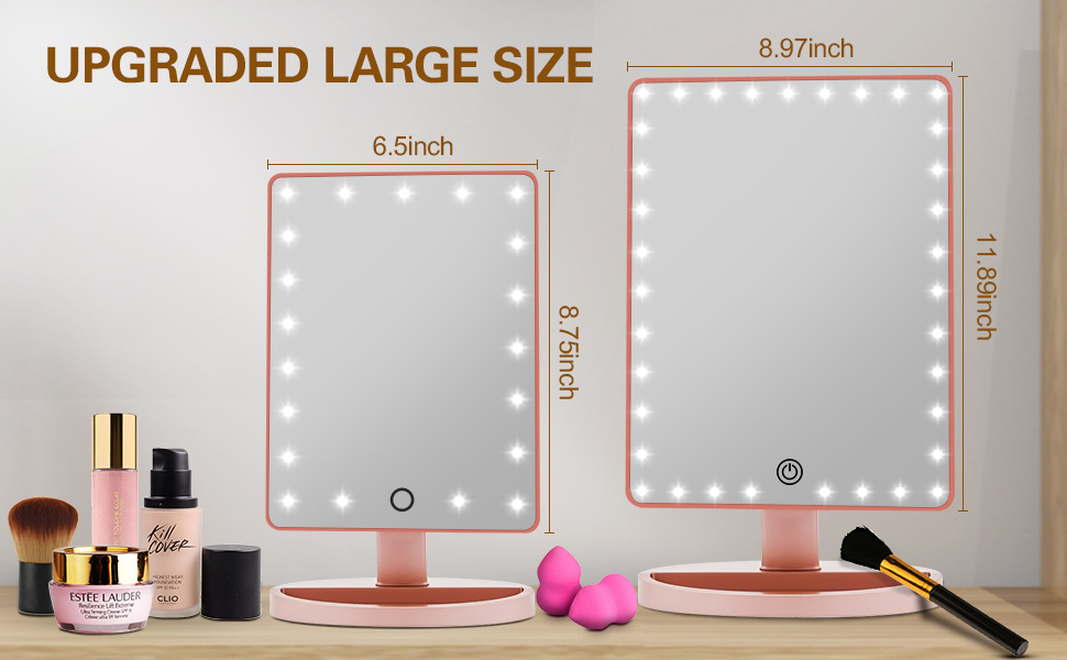 LARGE lighted makeup mirror with lights and magnification