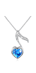 Blue Heart Music Necklace