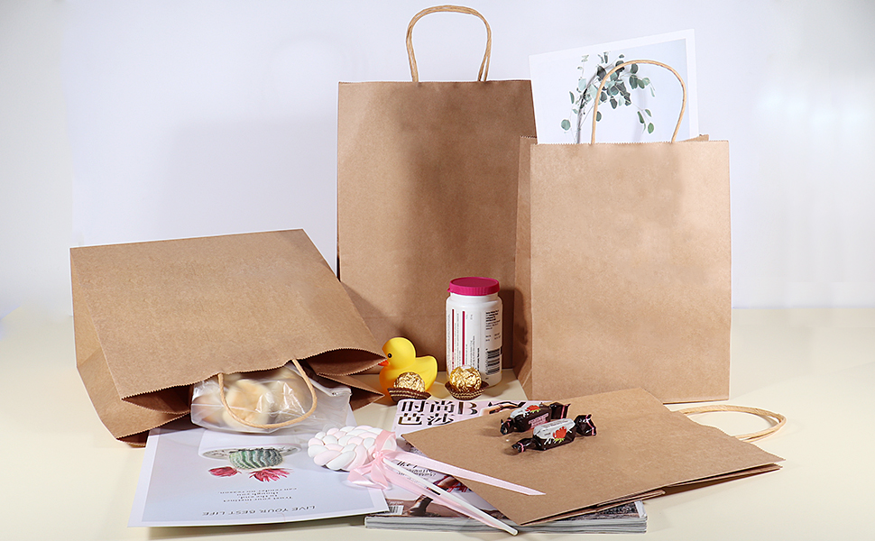 Brown Paper Bags with Handles Recycled Paper Bags for Grocery Baking Shopping Merchandise Boutique