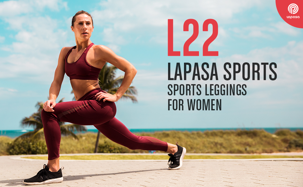 LAPASA Sports Leggings with Mesh Panels Zipper Pocket Yoga Pants for Women Tummy Control Running Tights L22