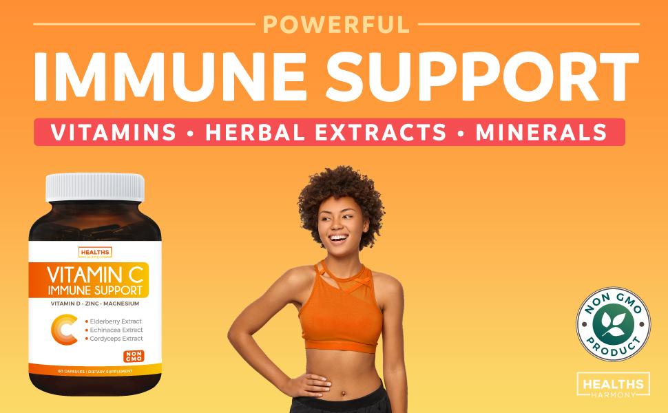 Vitamin C Immune Support Complex - Zinc - Magnesium - Vitamin D - Non GMO 500mg