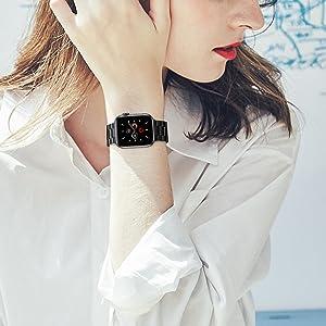 Bracelet de rechange - Compatible avec iWatch Series 6 SE 5 4 3 2 1 Noir