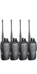 Olywiz HTD826 Walkie Talkies Two-Way Radio Long Range Rechargeable with Earpieces Headset 1800mAH Battery Dual Desktop Loud/&Clear 16CH 4Pack for Security/&Business School and More