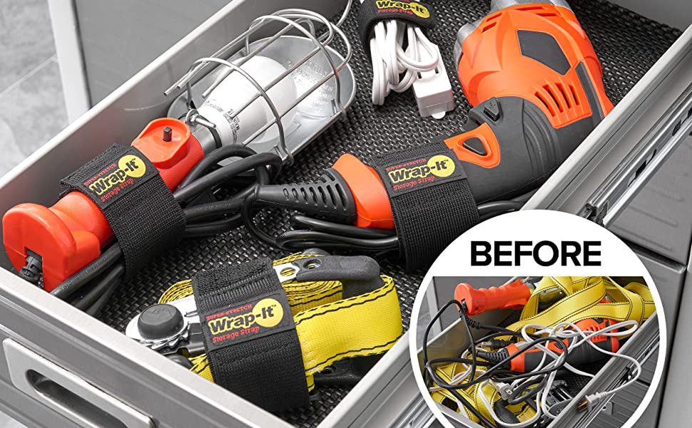 wrap-it storage super-stretch storage straps are a great garage organizer for cords, tools, and more