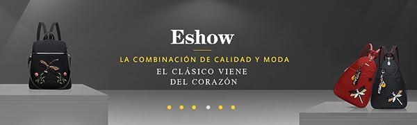 Eshow Mochila Bolso Bandolera para Mujeres y Chicas de Tela Nylon con Puerto de USB