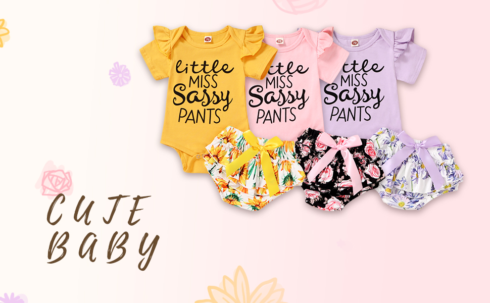 3 colors baby girl floral outfits summer