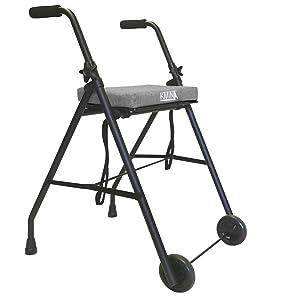 KMINA - Andadores ancianos plegable, Andadores adultos con asiento, Andadores ancianos 2 ruedas, COMFORT 2 Ruedas Gris