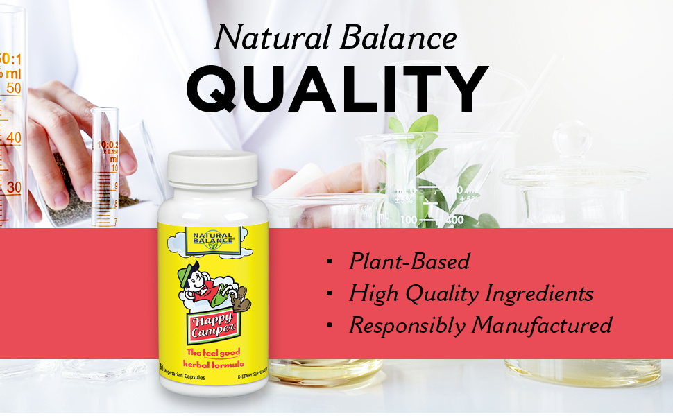 Natural Balance Happy Camper Mood Support and Relaxation Supplement w/ Kava Kava 120 VegCaps 60 Serv