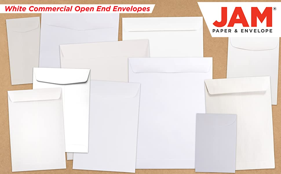 white commercial open end envelope